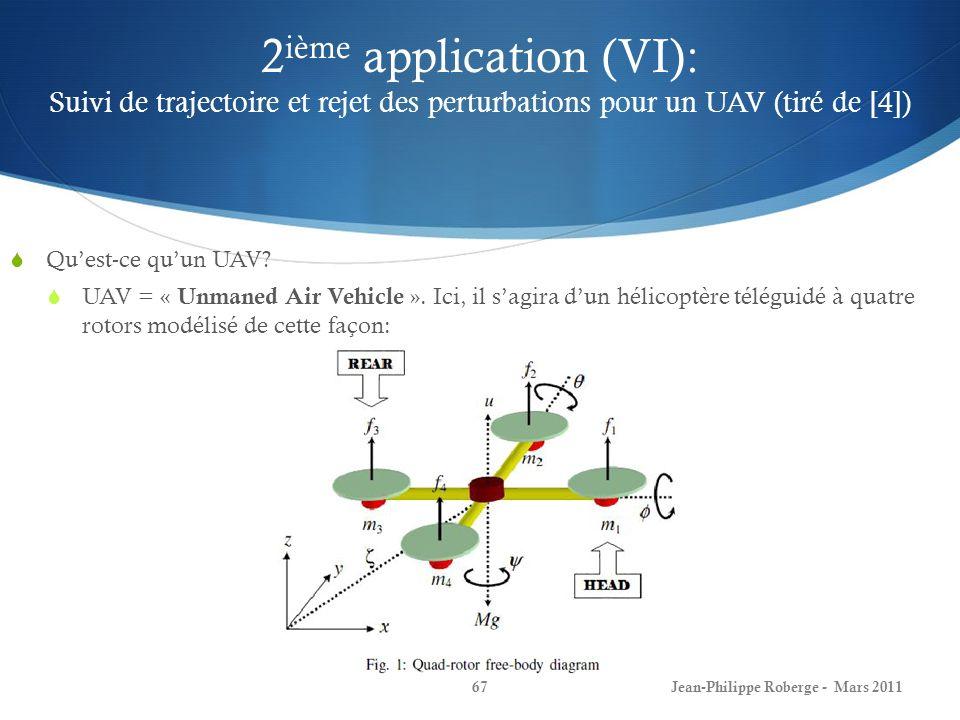 2ième application (VI): Suivi de trajectoire et rejet des perturbations pour un UAV (tiré de [4])